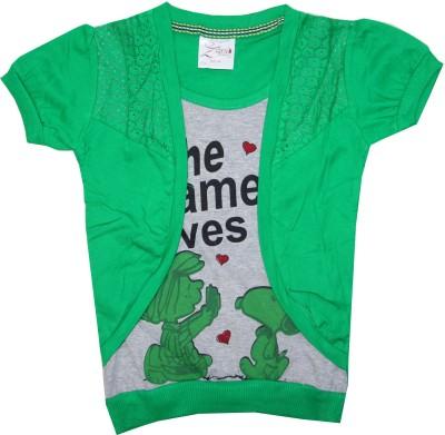 Kidsmasthi Casual Puff Sleeve Printed Girl's Green Top