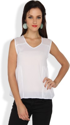 Ten on Ten Casual, Party Sleeveless Solid Women's White Top