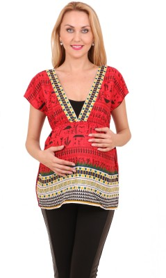 The Cute Bump By Hermosear Casual Short Sleeve Printed Women's Red Top