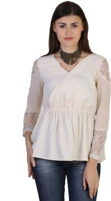 Belle Fille Casual 3/4 Sleeve Solid Women's Beige Top