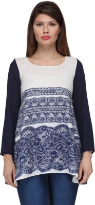 Just Wow Casual Full Sleeve Embroidered Women's White, Blue Top
