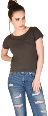 The Glu Affair Casual Short Sleeve Solid Women's Green Top