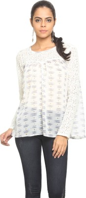 Desi Urban Casual Full Sleeve Printed Women's White Top