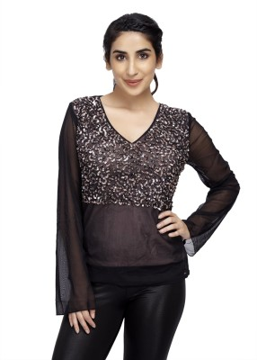 Cappadocia Casual Full Sleeve Embroidered Women's Black Top