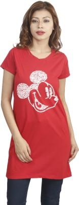 Naitik Casual Short Sleeve Printed Women's Red Top