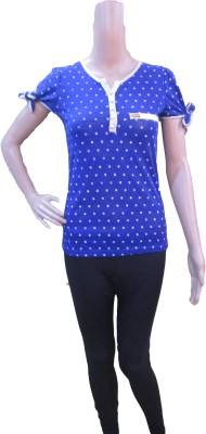Aaradhya Boutique Casual Short Sleeve Polka Print Women,s Blue Top