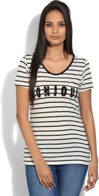 Vanheusen Casual Short Sleeve Striped Womens White, Black Top