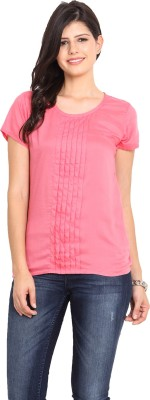 Nvl Casual Short Sleeve Solid Women's Pink Top
