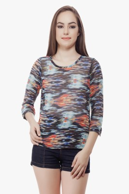 Miss Queen Casual 3/4 Sleeve Printed Women's Multicolor Top