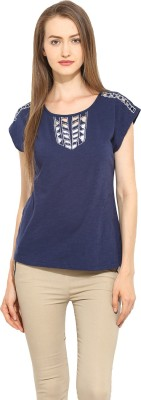 Free & Young Casual Short Sleeve Solid Women's Blue Top