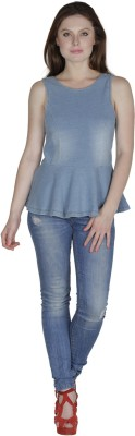 Fayona Casual Sleeveless Solid Women's Light Blue Top