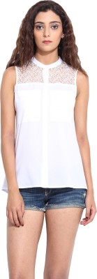 Pera Doce Casual Sleeveless Solid Women,s White Top