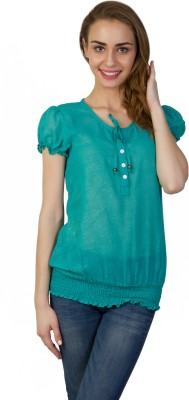Today Fashion Casual Short Sleeve Solid Women's Green Top