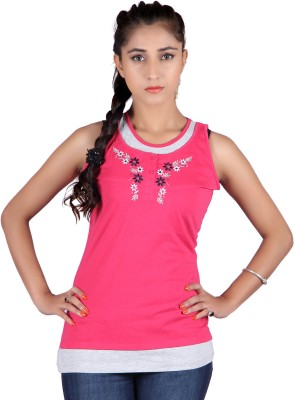 Raves Casual, Sports, Party Sleeveless Solid Women's Pink Top