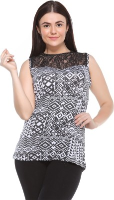 MOD PLUSS Casual Sleeveless Printed Women's Grey Top