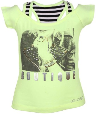 LEI CHIE Casual Short Sleeve Printed Girl's Green Top
