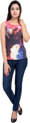 LA VERVE Casual Sleeveless Printed Women's Multicolor Top