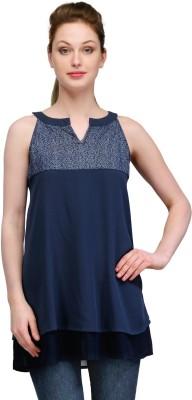Gloria Casual Sleeveless Self Design Women's Dark Blue Top