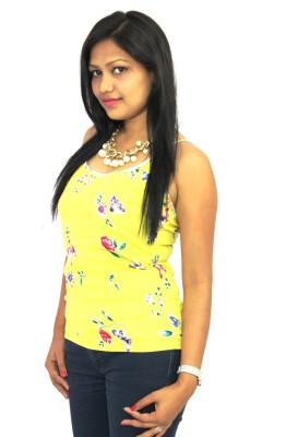 Aussehen Casual Sleeveless Printed Women's Yellow Top