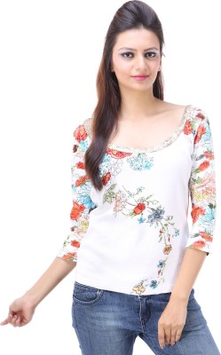 Avon Apparels Casual 3/4 Sleeve Floral Print Women's White Top