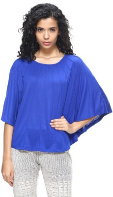 HANGNHOLD Casual 3/4 Sleeve Solid Women's Blue Top