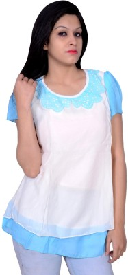 Womaniya by Being Dessi Party Short Sleeve Solid Girl's Blue Top