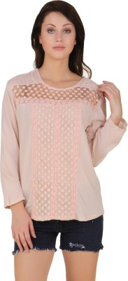 Lili Blank Casual Full Sleeve Solid Women's Pink Top