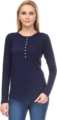 Colornext Casual Full Sleeve Solid Women,s Blue Top