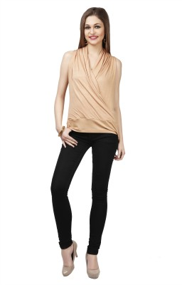 Glam & Luxe Casual Sleeveless Solid Women's Beige Top