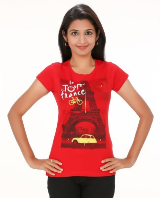 PEP18 Casual Short Sleeve Graphic Print Women's Red, Yellow Top