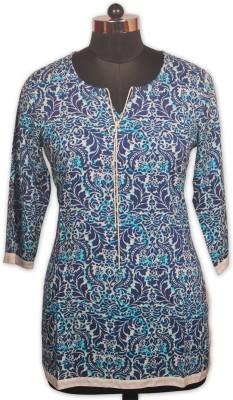 Indian Rain Casual 3/4 Sleeve Paisley Women's Blue Top