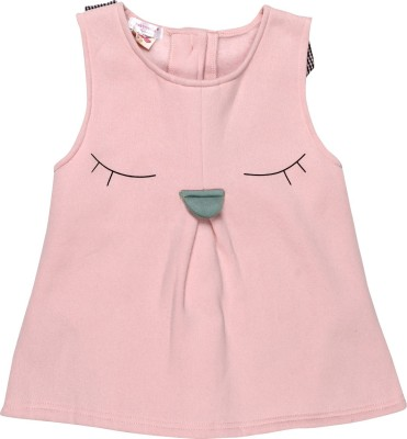 Baby Moshai Casual Sleeveless Solid Baby Girl's Pink Top