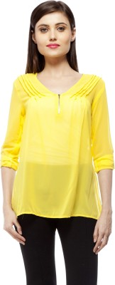 Stylestone Casual, Formal, Lounge Wear, Beach Wear, Party Roll-up Sleeve Solid Women's Yellow Top