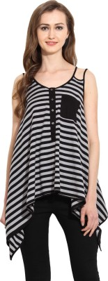 MSMB Casual Sleeveless Striped Women's Grey, Black Top
