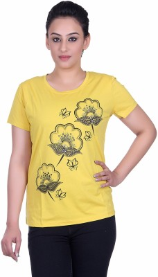 Sellsy Casual Short Sleeve Floral Print Women's Yellow Top