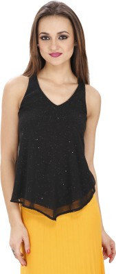 Svt Ada Collections Party Sleeveless Solid Women's Black Top