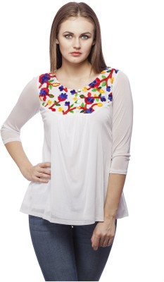 Peptrends Casual 3/4 Sleeve Embroidered Women's White Top