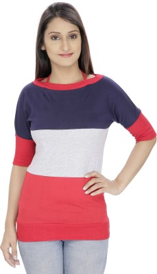 Franclo Casual Short Sleeve Striped Women's Blue, Red Top
