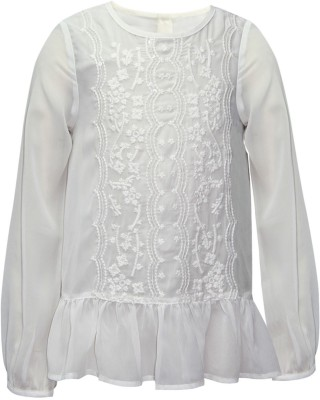 The Cranberry Club Casual Full Sleeve Embroidered Girl's White Top