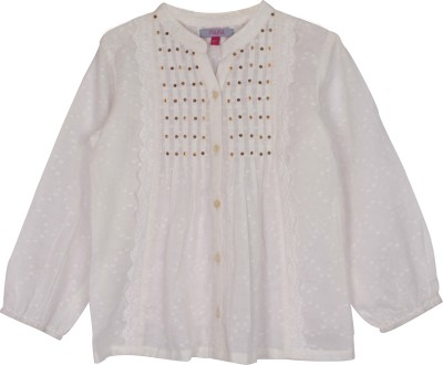 Nana Casual Full Sleeve Self Design Girl's White Top