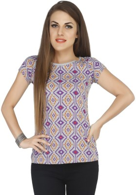 Pick Pocket Casual Short Sleeve Printed Women's Grey Top
