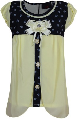 Jazzup Casual Short Sleeve Embellished Girl's Yellow Top