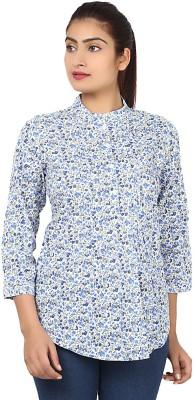Kiosha Women's Floral Print Casual Blue Shirt