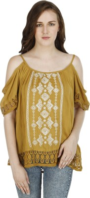 Splendent Casual Noodle strap Embroidered Women's Yellow Top