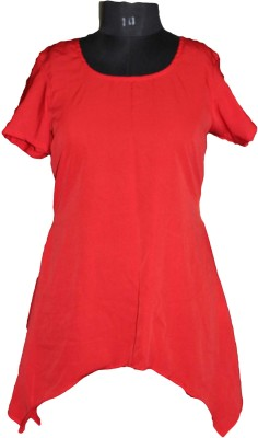 SAP Casual Short Sleeve Solid Women's Red Top
