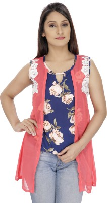 Franclo Party Sleeveless Floral Print Women's Pink, Blue Top