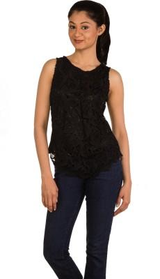Modo Vivendi Party Sleeveless Solid Women's Black Top