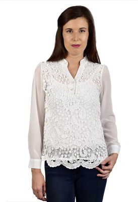 Saffora Fashion Casual Full Sleeve Self Design Women's White Top