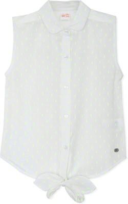 FS Mini Klub Casual Sleeveless Woven Girl's White Top