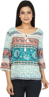 My Swag Casual 3/4 Sleeve Printed Women's Blue, White Top